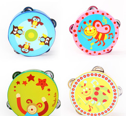 Wholesale Tambourine Rattle - Cartoon Wooden Tambourine Rattles Drums Orff Musical Instrument Kids Party Favors Many Designs 15CM free shipping