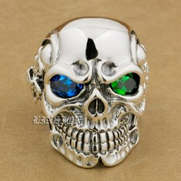 Wholesale Mens Sterling Silver Biker Rings - wholesale  925 Sterling Silver Titan Skull Blue+Green CZ Eye Mens Biker Ring 8V605