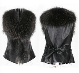 Wholesale Waist Coat Fur Vest - Fashion new faux fur vests for women S-3XL plus size slim sleeveless jackets winter coat female with belt colete de pele free shipping