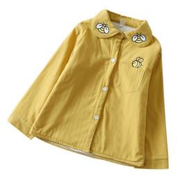 Wholesale Plain Turtleneck - New Girls 100% Cotton Cartoon Bee Children Shirts long sleeve Thickening Blouse plain Shirt for kids