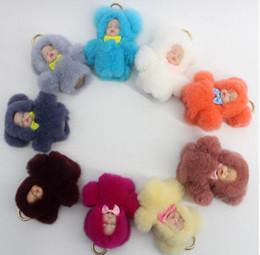 Wholesale Gift Bags Fashion Dolls - Fashion Faux Rabbit Fur Sleeping Baby Doll Key Chain Keychain Fluffy Pom Pom Keyring Bag Car Pendant Women Gift 13CM KKA3598
