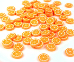 Wholesale Sweet Polymer - 500pcs Polymer Clay Fruit Fimo Cane Slices 10mm Decoden Miniature Sweets Kawaii Scrapbooking Nail Art Bright Orange Lemon