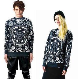 Wholesale Bandana Hoodie - New fashion 2014 men women's casual sweatshirts kill star skull bandana geometry print sweatshirt pullover hoodies streetwear