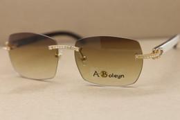 diamante sem aro Desconto Óculos de sol dos homens da marca designer New Black Rimless Branco Búfalo Chifre Óculos Samll diamante Óculos de Sol Tamanho Frame: 57-18-140mm