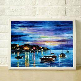 Palettenmesser malerei nacht online-Großverkauf 100% Hand-Painted dick strukturiertes Spachtel schöner Hafen bei Nacht Ölgemälde auf der Leinwand XY-95