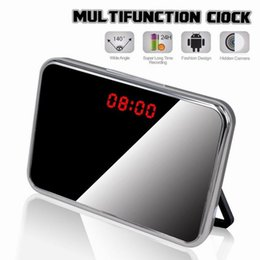 Wholesale Digital Clock Dvr - 5MP HD 1920*1080P Hidden Camera Mirror Alarm Clock Video DVR Digital Recorder Motion Detection Remote Mini CCTV Camera 10pcs lot