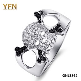 Wholesale Skull Rings 925 Silver - GNJ8862 Punk Style Genuine 925 Sterling Silver Big Skull Rings Micro Pave White and Black Cubic Zircon CZ Skeleton Ring