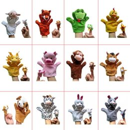 Wholesale Zodiac Hand Finger Puppets - Plush Zodiac 24pcs set Hand Puppets+Finger Puppets glove puppet animals Kids Baby Plush Toys Talking Props