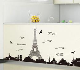 Wholesale eiffel tower wall decor - Wholesale- PVC Art Wall Paper Removable Paris Eiffel Tower Backgroup Bedroom trendy Home Decor Wallpaper