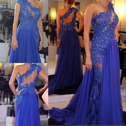 Wholesale One Shoulder Chiffon Pageant Gowns - Gorgeous One Shoulder Royal Blue Sequins Lace Prom Dresses Sheer Back Sexy Side Chiffon Sweep Train Formal Women Gowns Beaded Pageant Dress