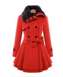 Wholesale Ladies Long Red Dress Coats - Winter Women Long Woolen Coat Dress Fashion Slim Double-Breasted Thicken Overcoat Windbreaker jacket Ladies Wool Blends Coat With Belt