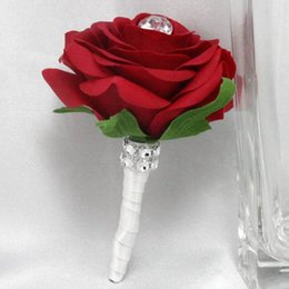 Wholesale Groom Wedding Chinese Suit - 2015 NEW 4 PCS   LOT Wedding Bridegroom Boutonniere Man Groom Corsage Wine Red Rose Groom Party Prom Brooch Decorations Men Suit Accessories