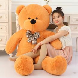 Wholesale Big Huge Cute - 100 Cotton Light Brown Giant 100cm Cute Plush Teddy Bear Huge Soft TOY