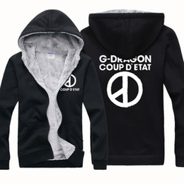 Wholesale Organic Cotton Blend - New Cheap Wholesale GD Bigband G-DRAGON Winter Sports Coats Slim Mens Hoodies And Sweatshirts Cardigan Thickening Plus Velvet Jacket