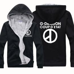 Wholesale Cheap Cardigans Jackets - New Cheap Wholesale GD Bigband G-DRAGON Winter Sports Coats Slim Mens Hoodies And Sweatshirts Cardigan Thickening Plus Velvet Jacket