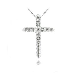Wholesale 925 Platinum Chain - 925 Silver Cross Pendant Necklace,925 Sterling Silver with Luxury Austria Crystal,3 Layer Platinum Plated Pendant Necklaces