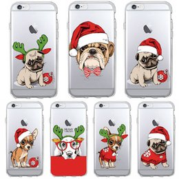 Wholesale Iphone Puppy - Ultra Thin Transparent Soft TPU Phone Case For iPhone 8 X 7 7Plus 6S 5S Christmas Puppy Hat Santa Cap For Samsung S8 plus S7 edge