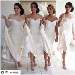 Wholesale Gold Bare - 2016 Cheap Bridesmaid Dress Maid Of Honor Gowns For Wedding Off Shoulder Bare Back Mermaid Plus Size Ivory Lace Satin Women Evening Gowns