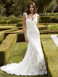 Wholesale Enzoani Wedding Dress Mermaid - Chic Lace Appliqued Wedding Dresses Mermaid Spaghetti Straps Bridal Gown Sweep Train Tulle Backless Wedding Dress Blue Enzoani