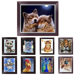 Wholesale Kitten Cross Stitch - DIY 5D Diamond Painting Cross Stitch Diamond Embroidery Cute Kitten Kit Home Decor Round Rhinestones Diamond Mosaic 25*30cm