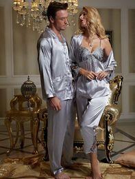 Wholesale Sexy Vneck - 2017 NEW silvery grey pajama sets women Vneck lace sleepwear lace sexy Pijamas modelos femininos full sleeve nightwear 3313 8306