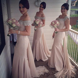 Wholesale Gold Luxury Mermaid Dresses - 2017 Luxury Off The Shoulder Beaded Maid Of Honor Mermaid Long Sweep Train Satin With Short Sleeves Champagne Bridesmaid Dresses UM4322