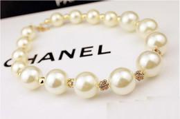 Wholesale Diamonds Big Necklace - hot sale Wholesales designer jewelry big pearl necklace fashion Beaded CZ diamond Necklaces jewellery, free shipping