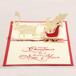 Wholesale Christmas Tree Postcards - 10pcs lot Handmade 3D Pop Up Greeting Cards Hollow Kirigami Snowman Reindeer Tree Design Postcards X'mas Festival Favors HX539
