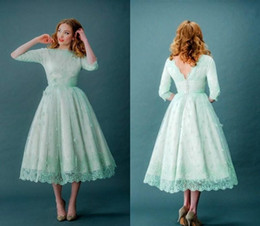 Wholesale Wedding Party Bone Dresses - Vintage 2016 Lace Prom Dresses Bateau Neck Half Sleeves Mint Green Tea Length Spring Plus Size Backless Wedding Party Dresses With Sleeves