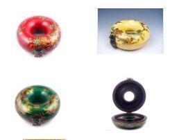 Wholesale Chinese Painting Jewelry - Wholesale Cheap Chinese Red Green Yellow Wood Hand Painted Dragon Phoenix Fire Ball Round Jewelry Box