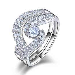 Wholesale Platinum White Stones - ORSA Charming Platinum Plated with 0.25ct Zircon and Micro CZ Paved Women Wedding Ring Set,2 Pieces OR49
