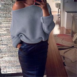 Wholesale Sexy Loose - 2017 Winter Pullover Sweaters Woman Designer Knitting Sexy Dew Shoulder Long Batwing Sleeve Christmas Sweater Casual Woman Clothing Loose