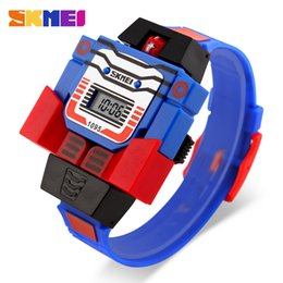 Wholesale Digital Toy Watches - SKMEI Kids LED Digital Children Watch Cartoon Sports Watches Relogio Robot Transformation Toys Boys Wristwatches Christmas Day gift For kid