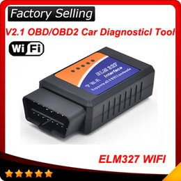 Wholesale Auto Diagnostic Tools Iphone - Free Shipping 2016 Newest ELM327 WIFI elm 327 Scanner OBDII OBD2 Auto Diagnostic Tool Support Iphone Ipad And Android And Windows 50pcs lot