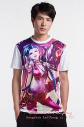 Wholesale Lol Shirts - Wholesale- New arrival LOL Fashion lol Jinx 100% Cotton T-shirts Fluorescence Summer suit Kalista Vi EZ Tryndamere Yasuo Free shipping