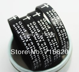 Wholesale Silicone Bracelet Id - Wholesale-50pcs English Serenity Prayer CROSS Silicone Bracelets Fashion Wristbands Wholesale Jewelry Lots