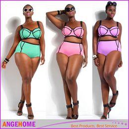 Bikini bello online-2016 più nuovo Bikini set Underwire Top per grandi e belle donne Big Size Swimwear a vita alta bikini Costume da bagno L-3XL Plus Size