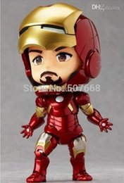 "Wholesale Iron Man Cute Model - Wholesale-Cute Nendoroid 4"" Iron Man Mark7 Tony Stark Set PVC Action Figure Collection Model Toy In Colorful Box"
