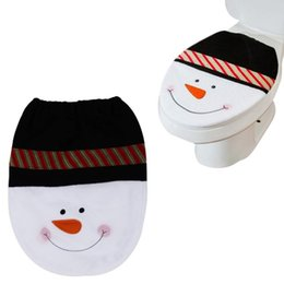 Wholesale Nice Bathroom Sets - Wholesale-Stylish 1 Pcs Cute Snowman Toilet Seat Cover and Rug Bathroom Set Christmas Decoration nice gifts