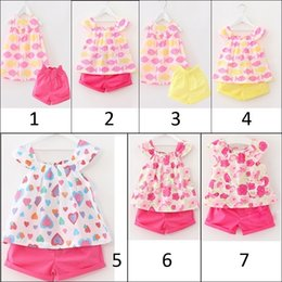 Wholesale Toddler Sleeveless Shirts - baby girls summer sleeveless clothes toddler girls shorts sets cute girls outfits shirt shorts set kids clothing free shipping in stock