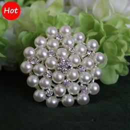 color crema de perlas Rebajas Pulsera de tono plateado de 2 pulgadas / 4,6cm y broche de cristal de perlas y diamantes de imitación de color blanco 2 para elegir
