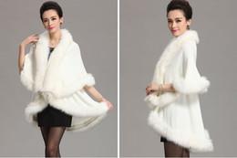 Wholesale Women Faux Fur Shawl - 2016 Faux Fur Shrug Cape Stole Wrap Shawl 145*95 cm Winter Fall Bridal Prom Evening Pageant Party Elegant Regular Size Women Bolero Fashion