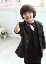 Wholesale Complete Black Suit - Three Buttons Fashionable Kid suit Complete Designer Notch Lapel Boy Wedding Suit Boys' Attire (Jacket+vest+Pants) Custom-made