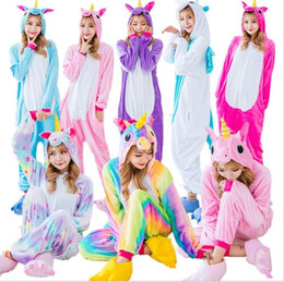 Sudaderas pijamas adulto online-Venta al por mayor Rainbow Unicorn Pikachu Stitch Unisex Flannel Hoodie Pijamas Cosplay Animal Onesies Ropa de dormir Hombres Mujeres Adultos