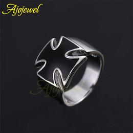 Wholesale Simple Cross Rings - 010 Ajojewel brand classic man jewelry fashion simple cool silver enamal black cross men ring without stone