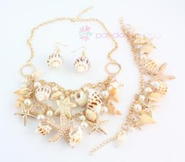 Wholesale Multielement Bracelet - 2015 New Design Fashion Golden Chain Multielement Pearl Beads Shell Conch Starfish Necklace Set#1