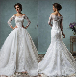 Wholesale Lace Ivory Mermaid Sleeves Dress - 2016 New Sexy Sheer Long Sleeves Mermaid Full Lace Wedding Dresses Off The Shoulder Court Train Bridal Gowns With Removable Overskirt AS
