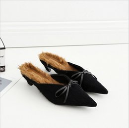 Wholesale Nude Bow Sandal - The explosion of half dragged are really rabbit fur flattie pointed bow sandals shoes
