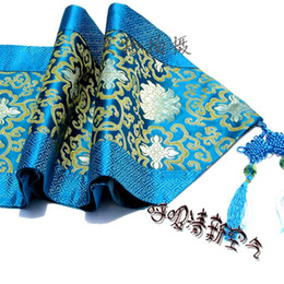 Wholesale Damask Runners - High End Luxury China knot Patchwork Turquoise Damask Table Runners with Tassels Vintage Home Decor Table Cloth L200*W33 cm multicolor