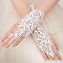 Wholesale Wedding Gloves Fingerless - 2015 New Arrival Cheap In Stock Lace Appliques Beads Fingerless Wrist Length With Ribbon Bridal Gloves Wedding Accessories free shiipping